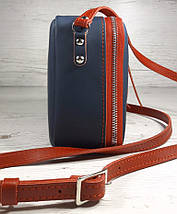 64-к Натуральная кожа, Сумка женская кросс-боди, синяя, красная комби в цветахTommy Hilfiger, фото 3