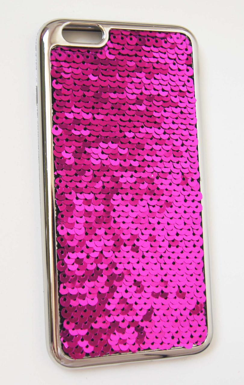 Силикон  iPhone 6P Чешуйки New  розовый