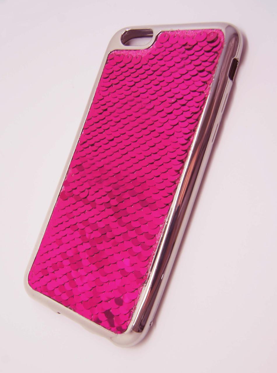 Силикон  iPhone 6G  Чешуйки New  розовый