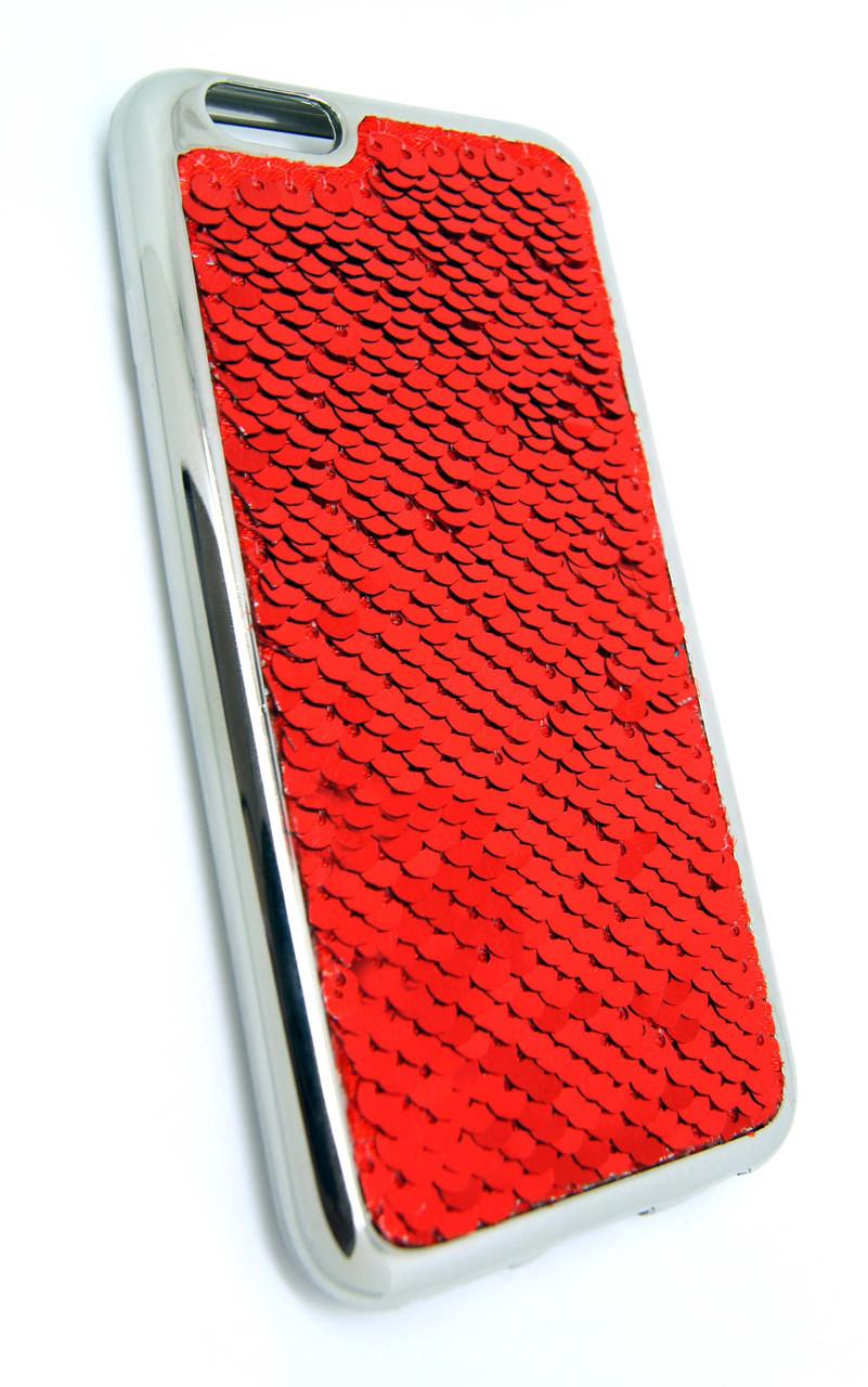 Силиконовый чехол для iPhone 6 / 6S Чешуйки красный