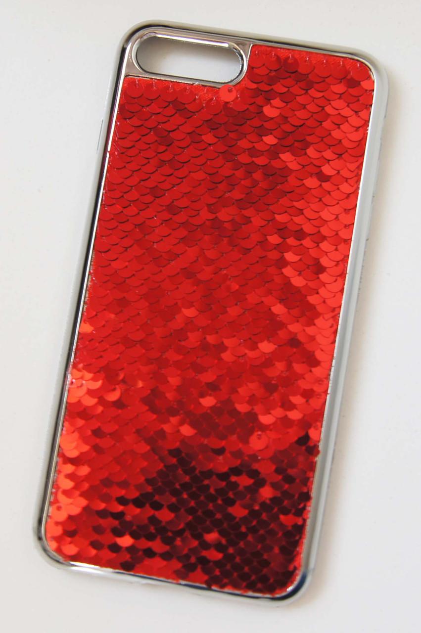 Силиконовый чехол для iPhone 7 Plus / 8 Plus Чешуйки Красный