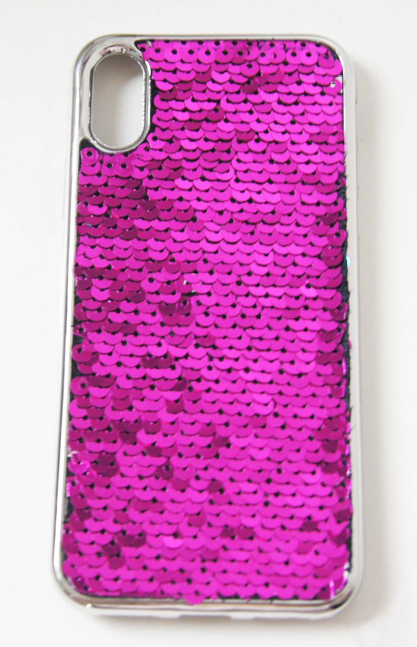 Силиконовый чехол для iPhone X / XS Чешуйки розовый