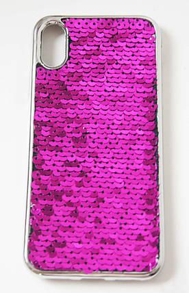 Силиконовый чехол для iPhone X / XS Чешуйки розовый, фото 2
