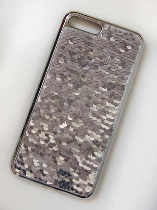 Силиконовый чехол для iPhone 7 Plus / 8 Plus Чешуйки Серебро, фото 2