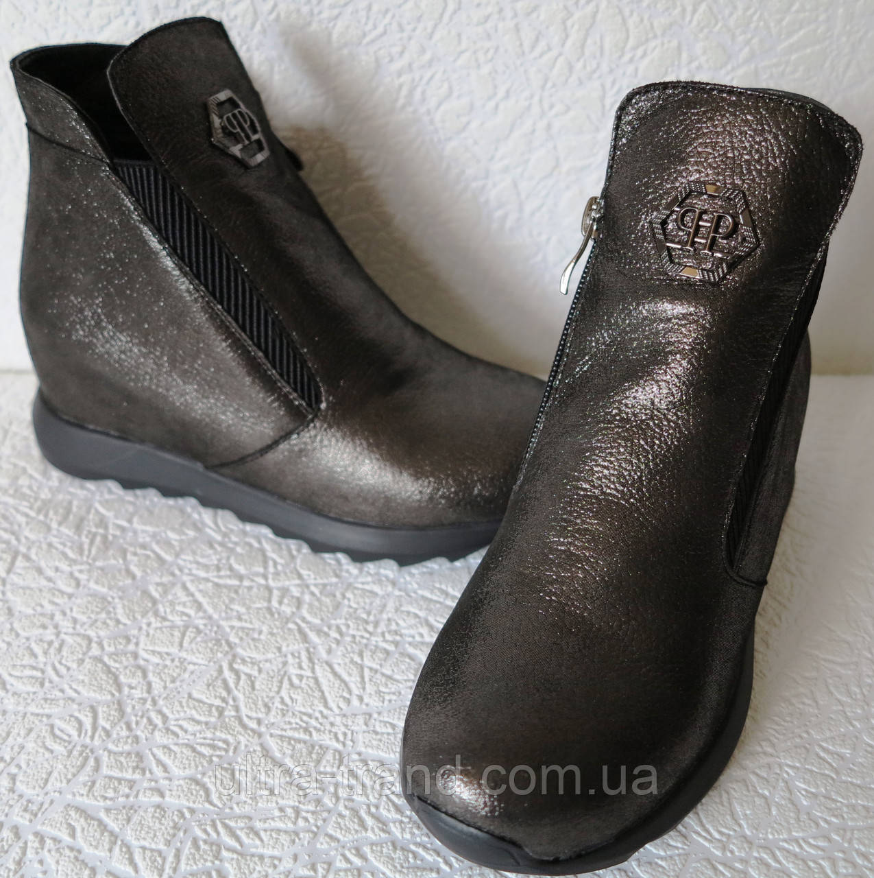 Женские ботинки в стиле Philipp Plein! скрытая платформа Филипп Плейн кожа никель