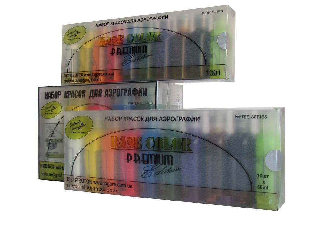 Набор красок для аэрографии Base Color Premium Edition 10 цветов по 50 мл