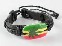 Браслет кожа + кость Rasta Cannabis