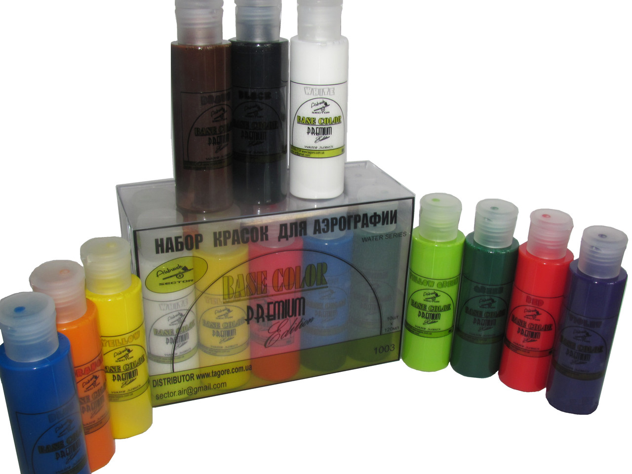 Набор красок для аэрографии Base Color Premium Edition water series 10 цветов по 120 мл