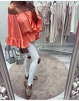 Женская блузка с воланами на объёмных рукавах