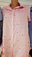 Женская рубашка в полоску короткий рукав S, M, L. оптом
