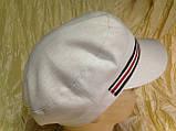 Женская льняная кепка - картуз цвет белый с цветной лентой, фото 5