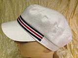 Женская льняная кепка - картуз цвет белый с цветной лентой, фото 3