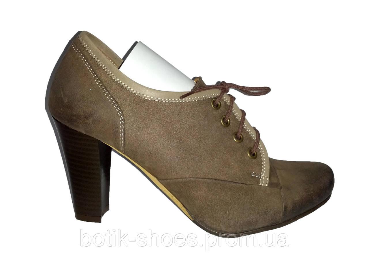 f1d719c090f8 Кожаные женские туфли на каблуках коричневые 39 размер Aga 1147 - Bigl.ua