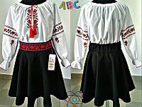 Блузка школьная хб вышиванка для девочки школьная форма рост:122-146 см, фото 1