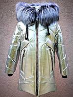 Зимнее пальто металлик для девочек рост 116-150