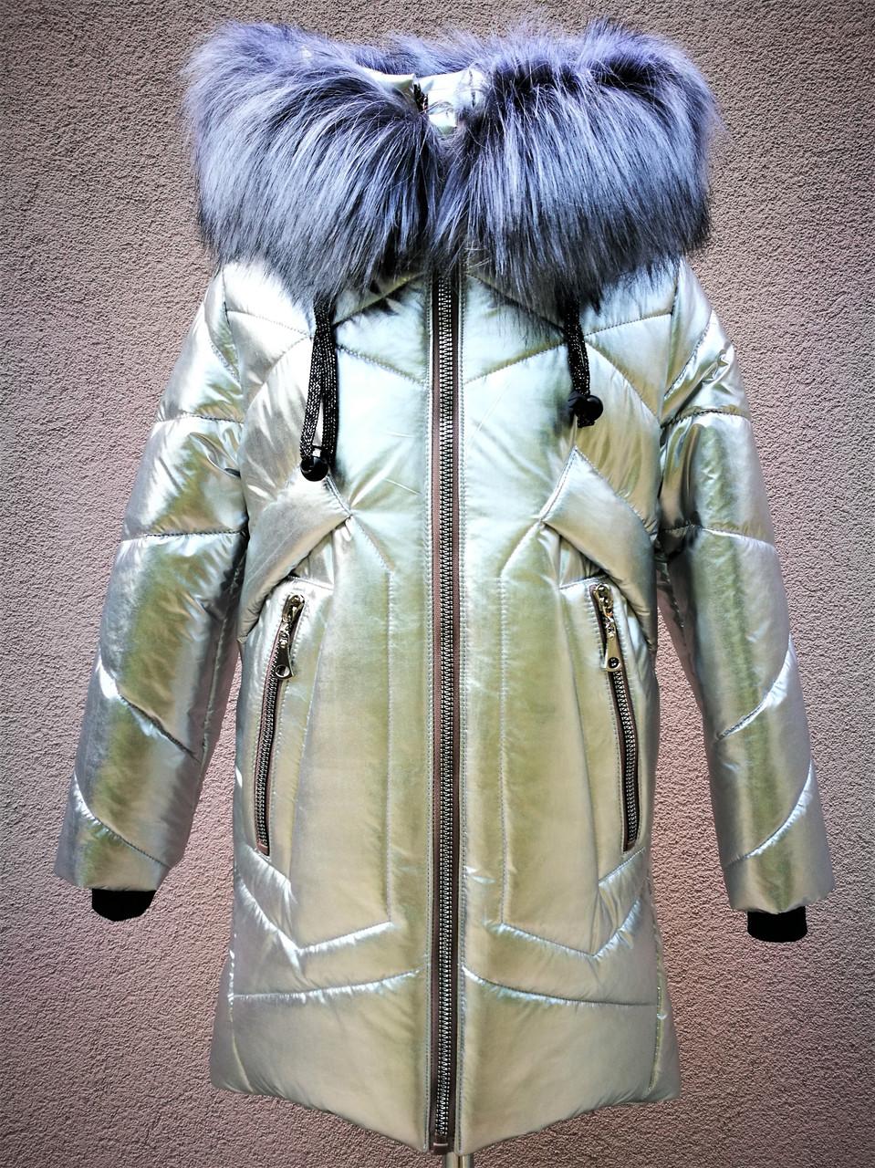 Зимнее пальто металлик для девочек рост 116-135