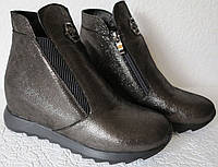 Philipp Plein ! женские ботинки скрытая платформа Филипп Плейн кожа никель Красивые! Женские ботинки реплика, фото 1