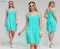 Летнее платье двойка / софт-шелк, сетка / Украина 36-03730, фото 1
