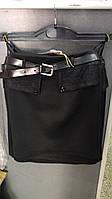 Юбка школьная  для девочки на 6-14 лет черного  цвета с поясом оптом