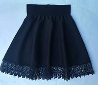 Школьная юбкадетскаядля девочки 7-10 лет, черного цвета