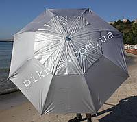 Уценка! Зонт усиленный пляжный 1,8 м ветровой клапан, спицы ромашка, напыление, наклон. Зонтик от солнца