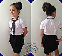Блузка школьная рубашка с галстуком для девочки школьная форма рост:122-140 см, фото 1