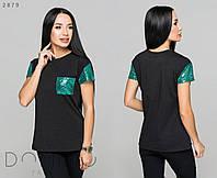 Женская футболка со вставками из пайетки / двунитка / Украина 36-3765, фото 1