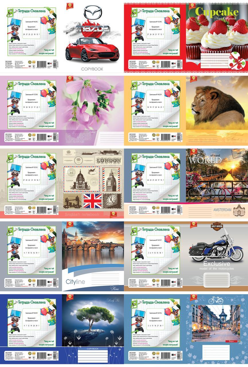Набір зошитів 10 шт Тетрада МІКС №1 А5 у клітинку 60 аркушів (81676)