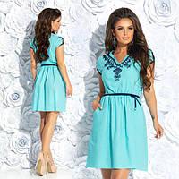 Женское льняное платье с вышивкой 887239, фото 1