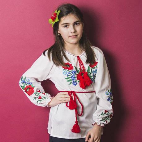 Вышитая блузка для девочек Волошки с камушками р. 146-164 см., фото 2