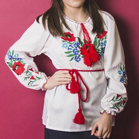 Вишита блузка для дівчаток Волошки з камінчиками р. 146-164 див., фото 2