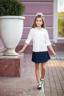 Блуза школьная, растительные узоры, размер 140-158, молочный, фото 1