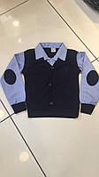 Кофта обманка для мальчика на 6-14 лет синего цвета оптом