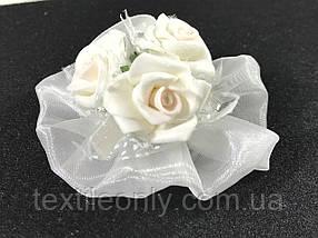 Троянди об'ємні білі бутони для декору Сатин 70x30 мм