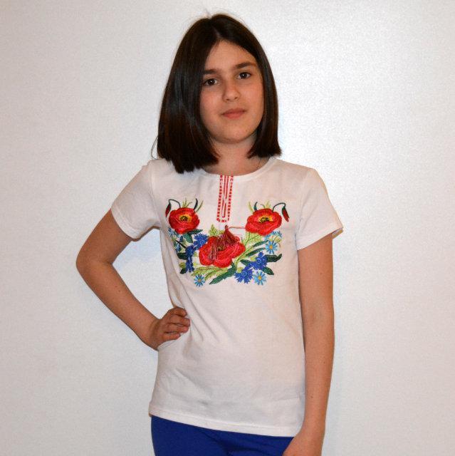 Футболка трикотажна з вишивкою Різнокольорові листочки для дівчаток