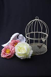 Декоративная клетка с бабочками цвет айвори