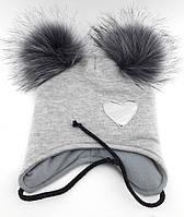 Оптом шапка детская с 48 по 52 размер ангора помпонами шапки головные уборы детские опт