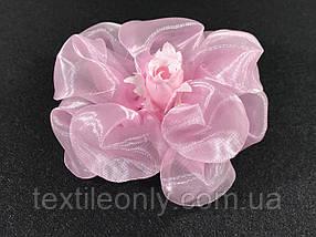 Троянди об'ємні рожеві бутони для декору Сатин 70x30 мм