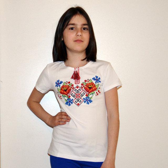 Футболка вышиванка для девочек Леся 2