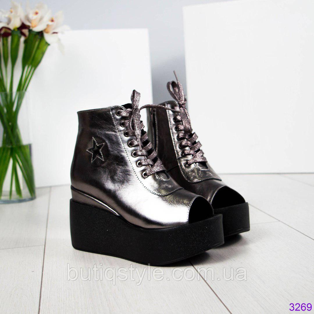 8043aad44 Летние женские ботинки на платформе со шнуровкой, кожа никель -