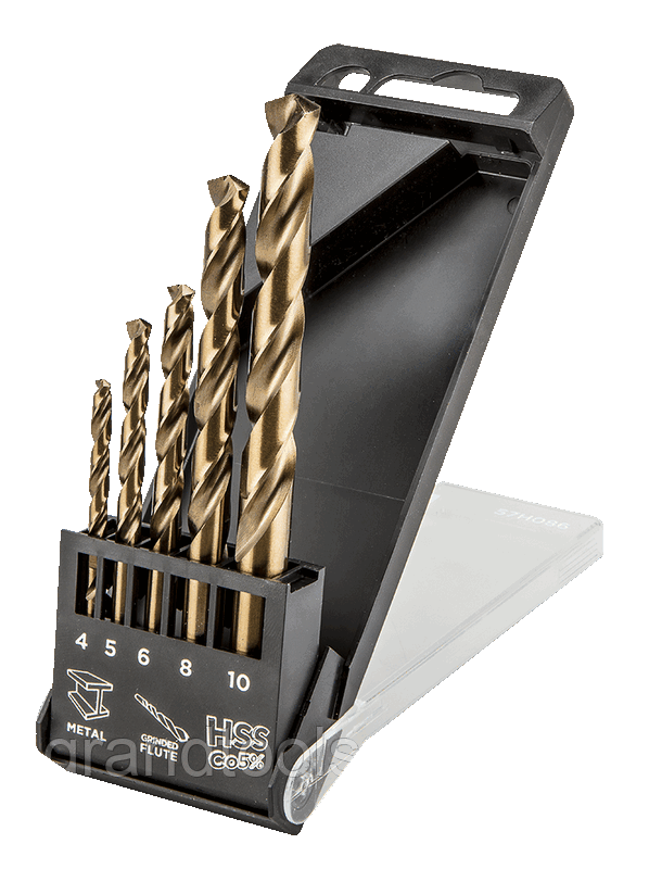 Сверла для металла graphite 57h086 hss-co 4.0 10 мм (набор из 5 штук)