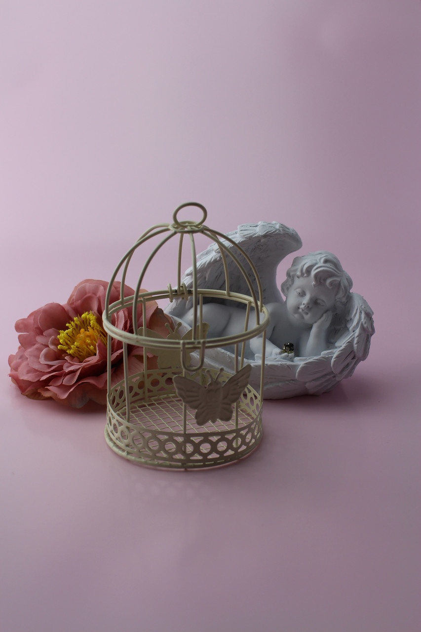 Декоративная клетка с бабочками, цвет айвори