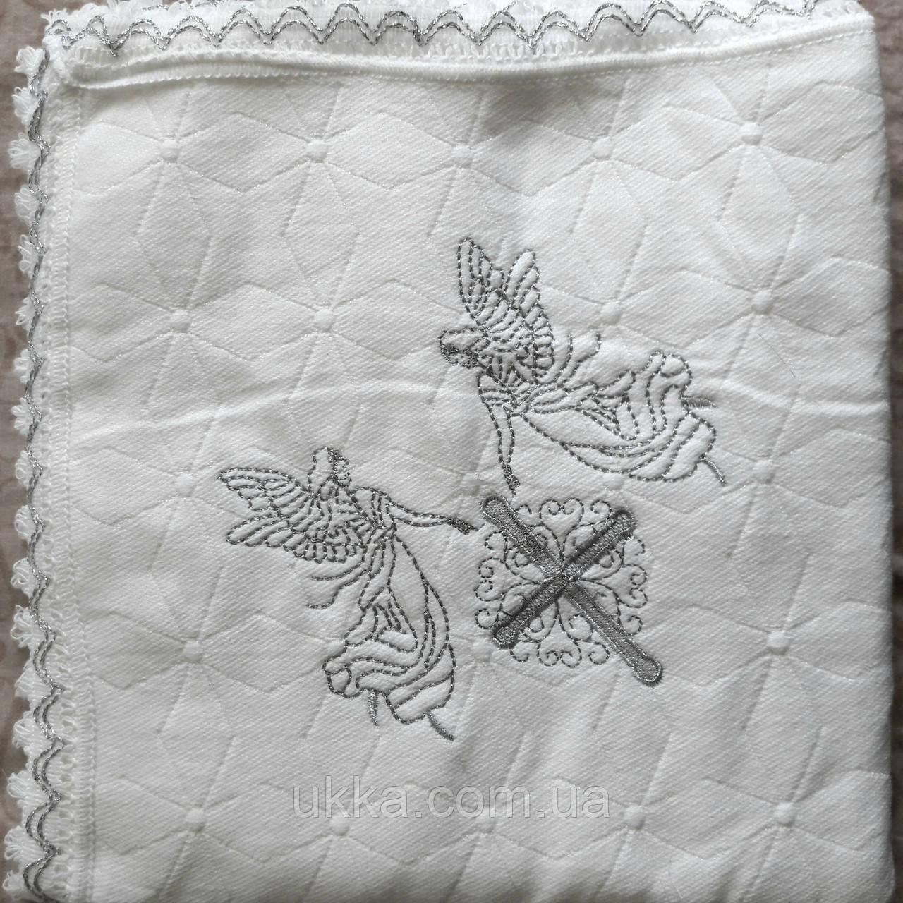Крыжма вязаная на хлопковом флисе пледик Турция