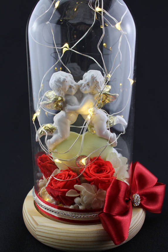 "Композиция с красными розами ""Два ангела на сердце"", фото 2"