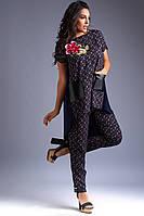 Стильный женский костюм-двойка брюки + туника А-силуэта. 2 цвета. Размеры : 48-50,52-54,56., фото 1