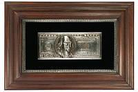 Объемная картина 100 долларов в серебре, панно., фото 1