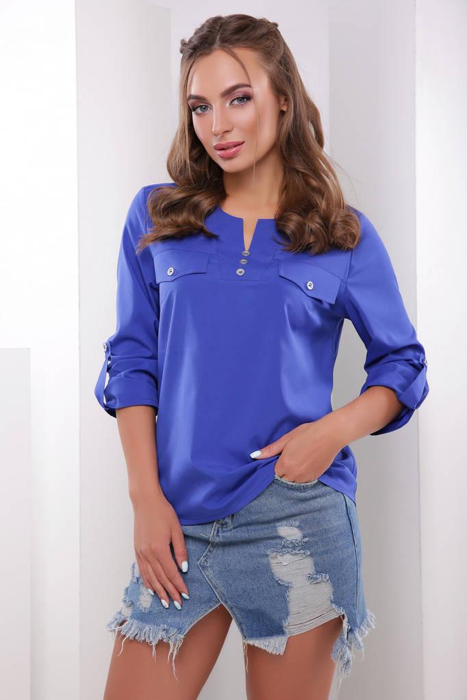 Летняя блуза женская, цвет: электрик, размер: 44, 50