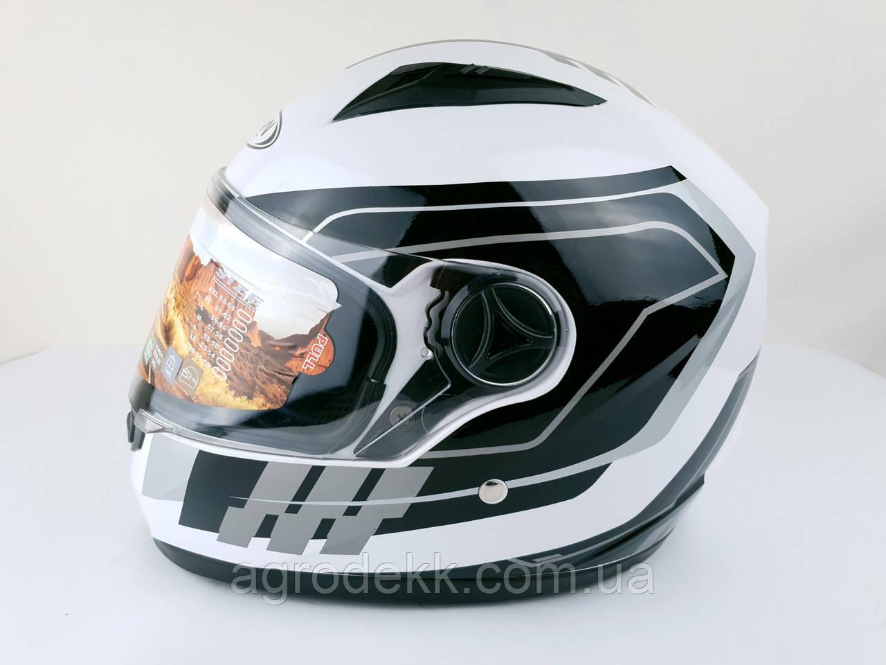 Шлем для мотоцикла Hel-Met 111 белый с полосой