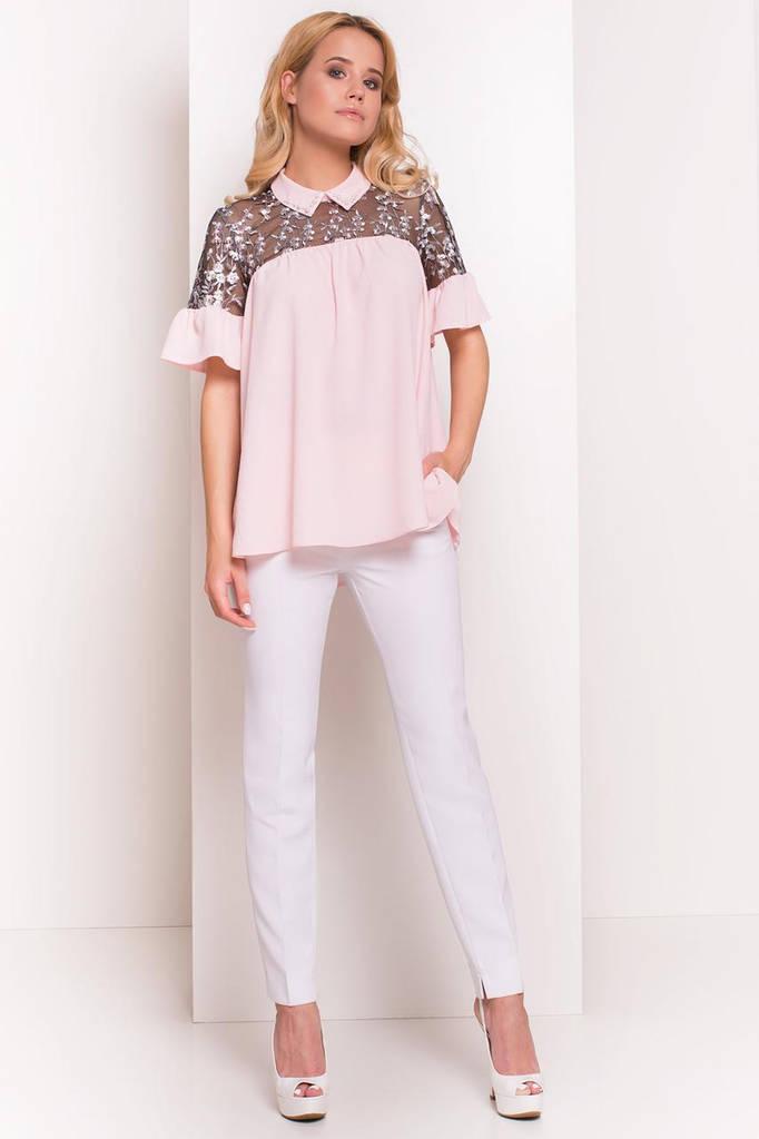 Летняя блуза женская, цвет: Розовый Светлый, размер: S, L