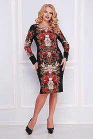 Платье женское черное с красными розами больших размеров